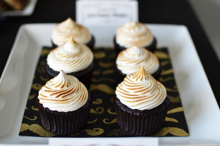 Chocolate cupcakes with beautiful toasted marshmallow frosting!