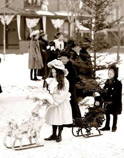 Little Girls with their Dolls in Sleighs ~ c.1909
