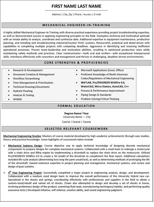 resume for internship in mechanical engineering