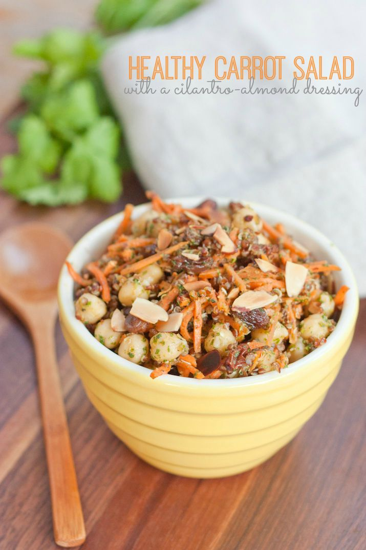The Best Healthy Carrot Salad with a Cilantro-Almond Dressing #vegan # ...