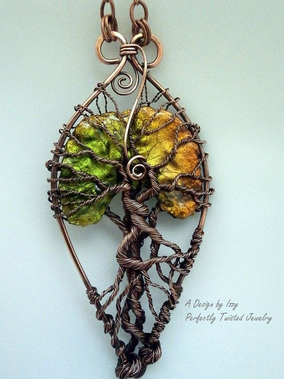 wire wrapped tree of pendant necklace lacquered leaf