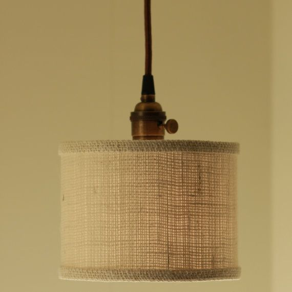 Hanging Pendant Light With Light Burlap Fabric Drum Shade