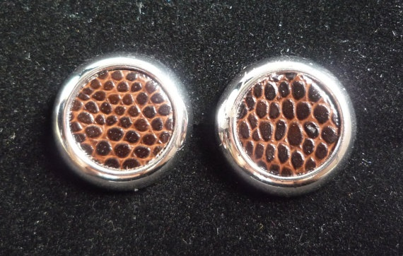 Look at the texture on these cuff links!Vintage Sliver Tone and Brown Snakeskin Effect by CathysTrinkets, $17.00