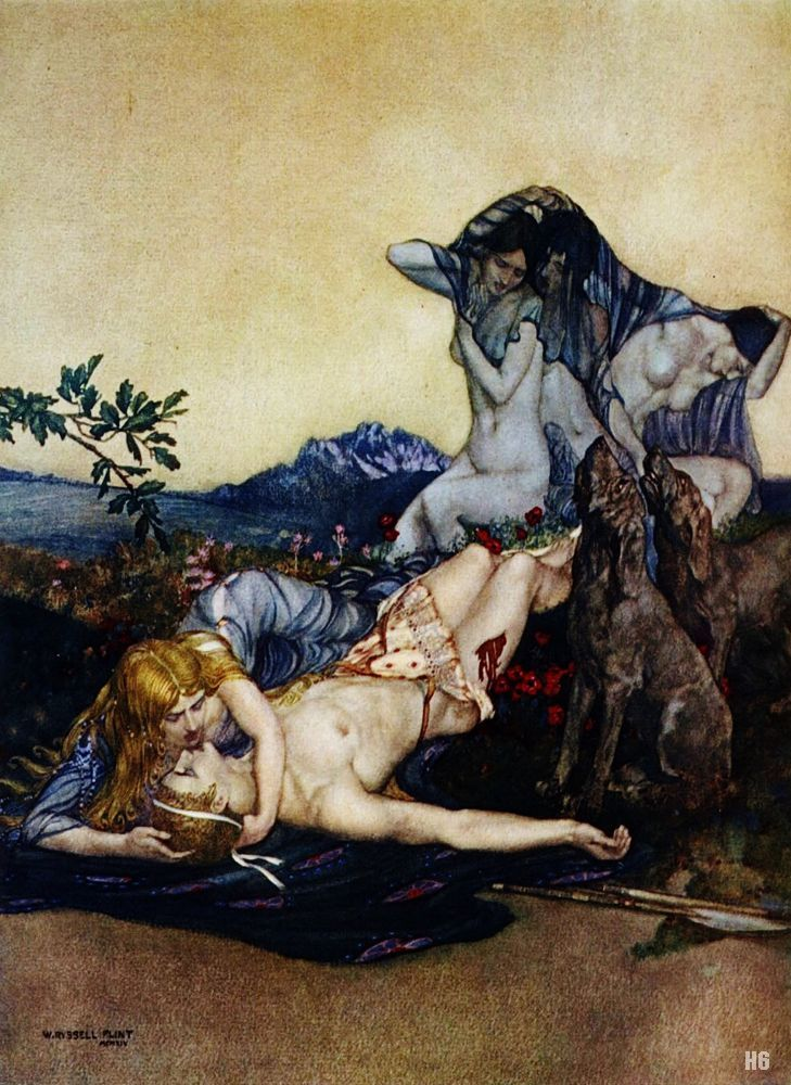 Lament for Adonis. 1922. William Russell Flint. Scottish. 1880-1969. watercolor.  http;//hadrian6.tumblr.com