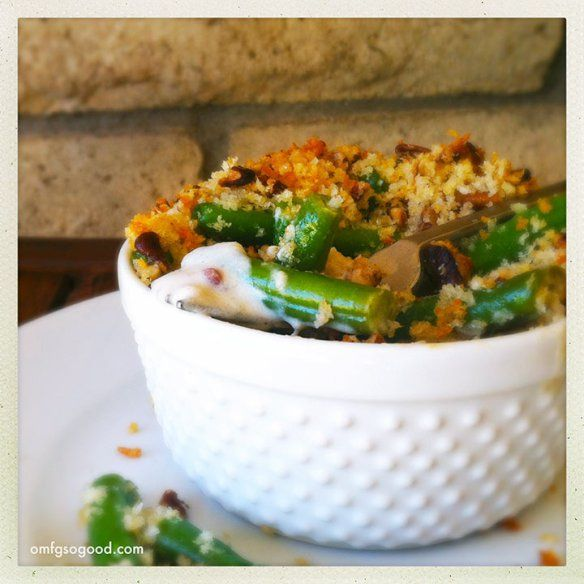 Goat Cheese and Roasted Pecan Green Bean Gratins | D'lish | Pinterest