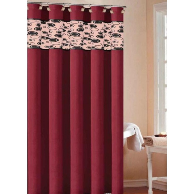 DR International Sonia Shower Curtain Color: Burgundy-Black - SOSBY 12 ...