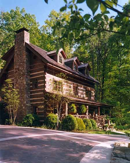 Hand hewn log cabin 2 story mountain get a way dream for Two story log homes