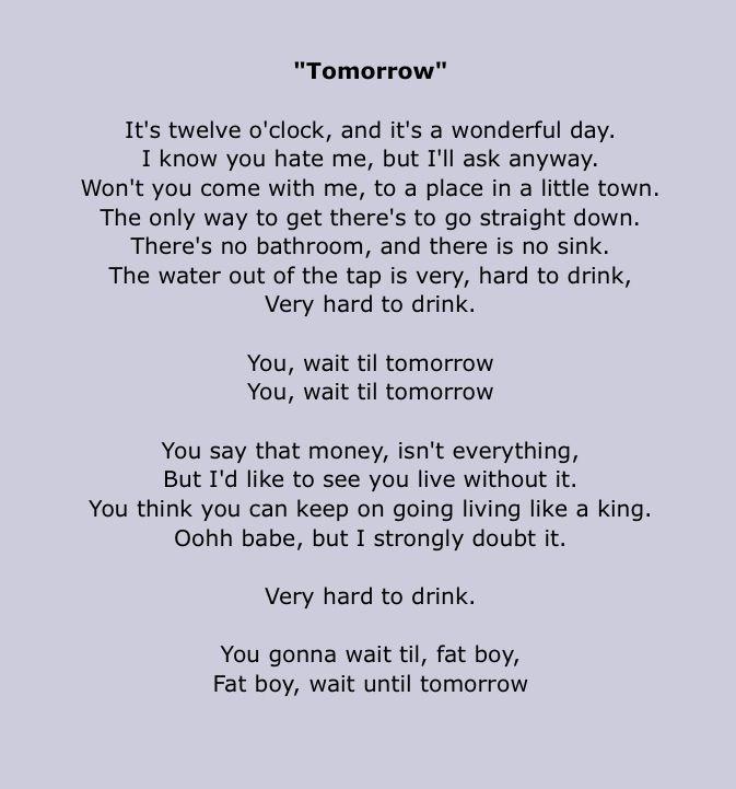 Silverchair Lyrics Tomorrow Bands I Love Pinterest