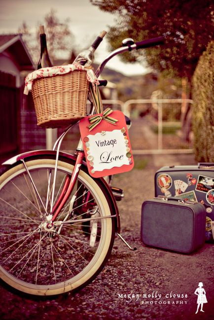 "#bike with a basket in #vintage style love the ""suitcases"