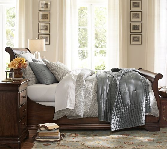 layered greys  [Silk Tufted Quilt & Shams | Pottery Barn]