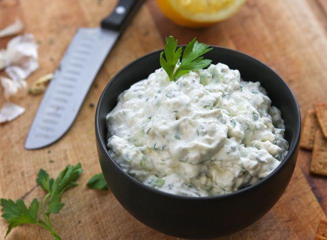 Feta Dip - Feta cheese crumbles, sour cream, green onions, garlic ...