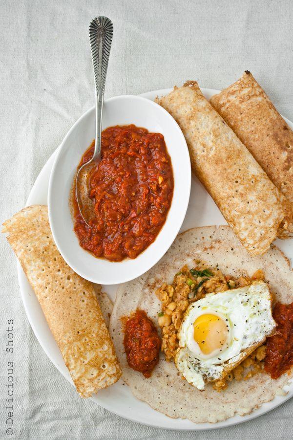 Dosa, Matbucha and Chickpeas | Healthy recipes | Pinterest