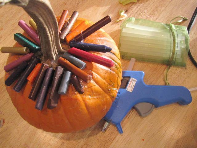 Melted crayon pumpkins halloween pinterest