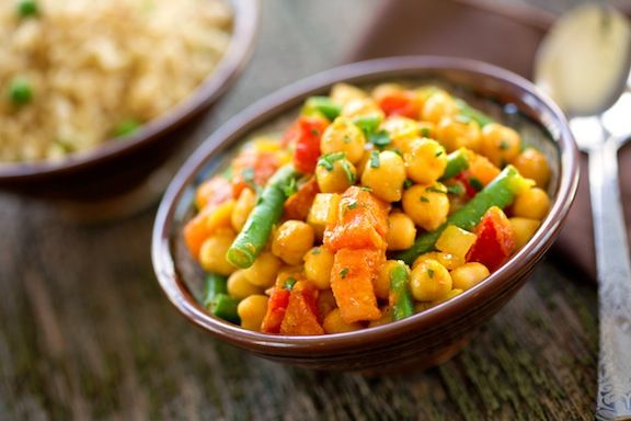 masala - curried chickpeas maybe aspargus in place of the green beans ...