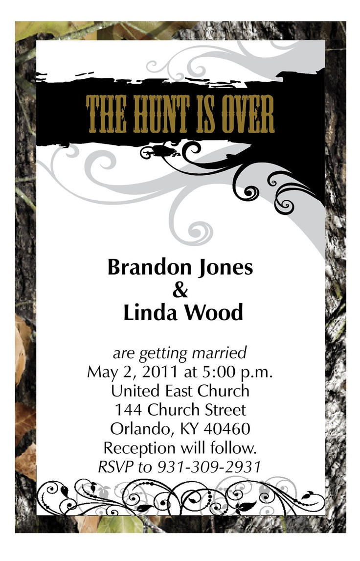 50 Mossy Camo The Hunt Is Over Wedding Invitations Envelopes