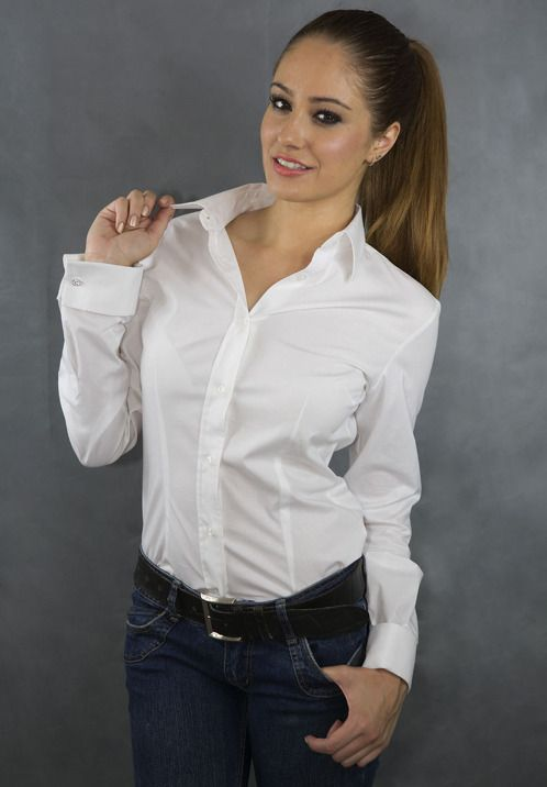 Wonderful Ladies White Blouse With French Cuffs - Long Blouse With Pants