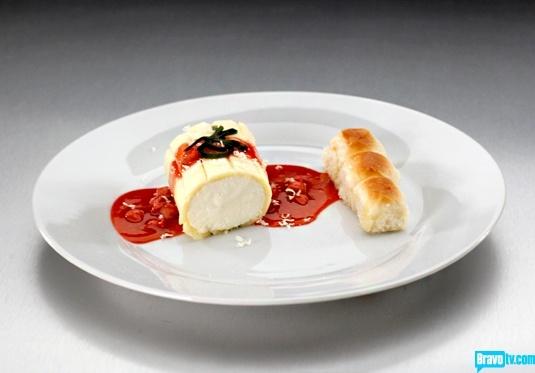 ... Cake with Mascarpone-Ricotta Mousse, Strawberry Sauce & Basil Gelée