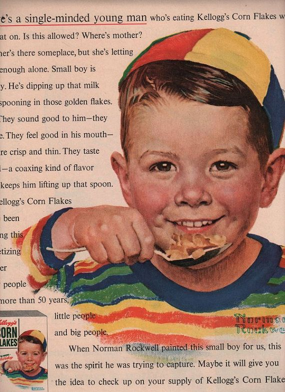 vintage corn flakes kellogg 1950 advertisement norman rockwell via Etsy