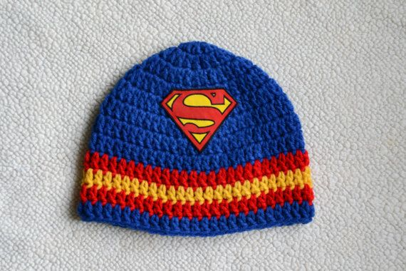 Superhero Superman inspired crochet hat
