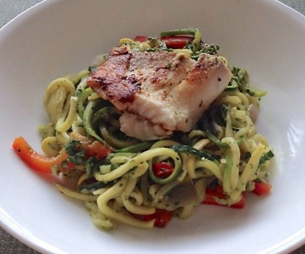 ... summer squash noodles with a skinny pesto sauce, topped with grilled