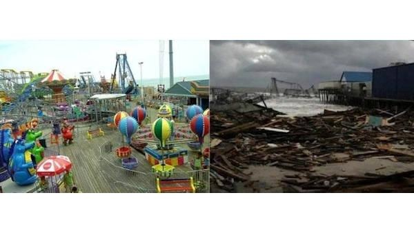 Funtown Pier at Seaside Park, N.J. before and after Hurricane Sandy hit.