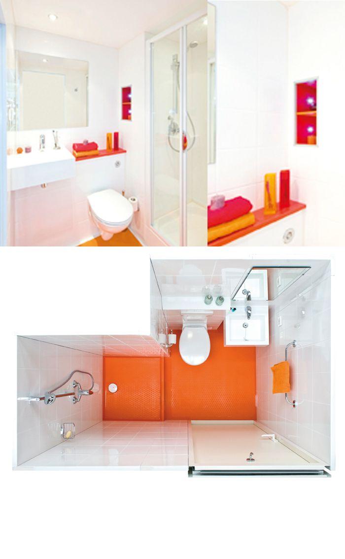 Cuisine Rouge Avec Ilot Central : Salle de bain gain de place  Home Chic Home  Pinterest