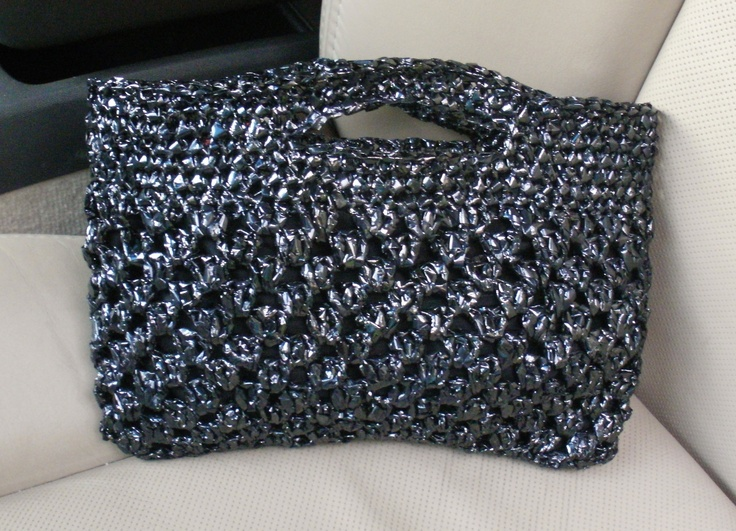 Crocheting With Plarn : Crocheted VHS plarn purse Plarn Pinterest