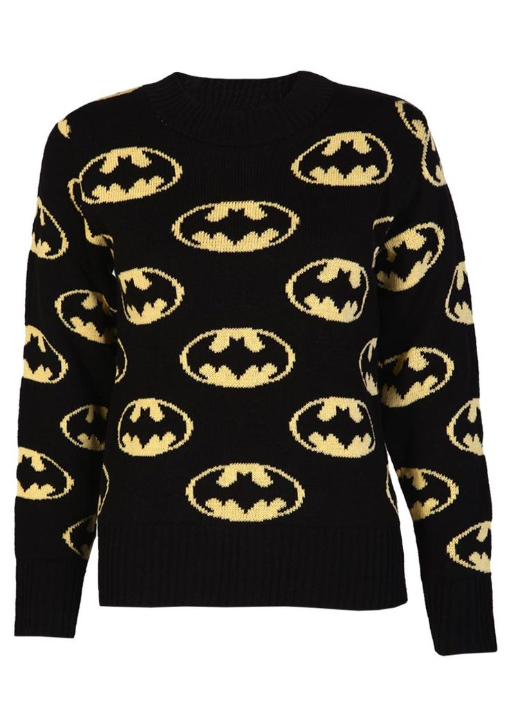 Allover Batman Print Knitted Jumper - Womens Clothing Sale, Womens