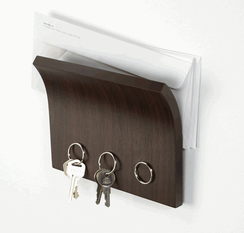 The magnetic surface of this mail organizer makes a great home for everyone's keys. It's ideal for use as a landing strip when space is tight.