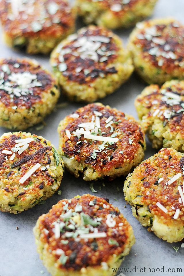 US] Garlicky & Cheesy Quinoa Zucchini Fritters | www.diethood.com ...