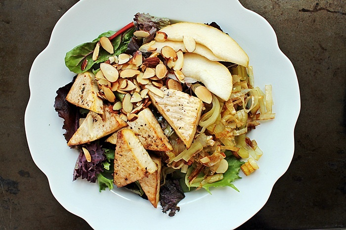 Caramelized Leek + Tofu Salad | Salad Recipes | Pinterest