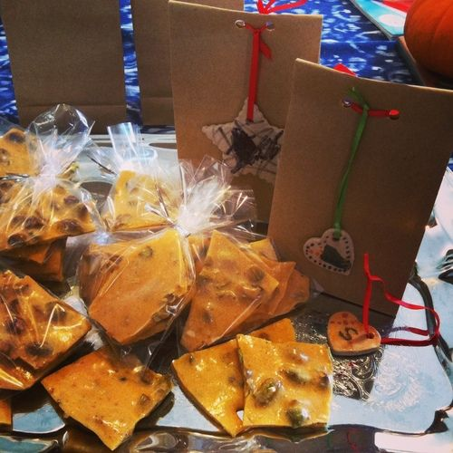 Wrapping homemade pistachio brittle:My 1st word was chocolate