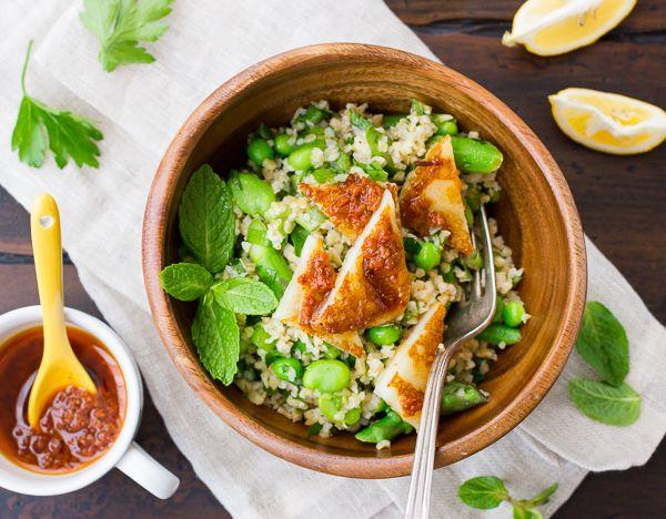 Spring Tabbouleh with Harissa & Grilled Halloumi | The Bojon Gourmet