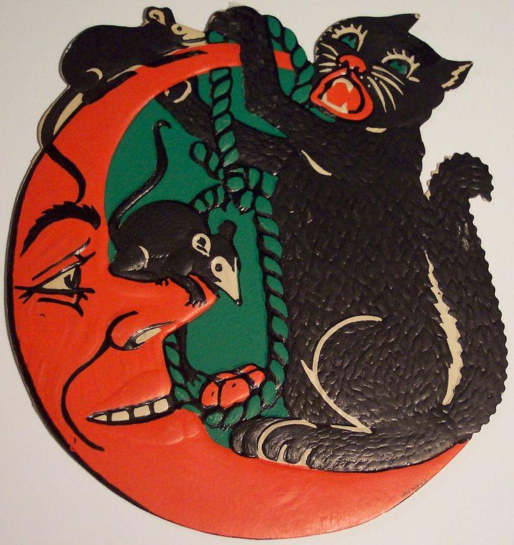 Vintage Halloween Diecut Cat and MoonVintage Halloween Moon