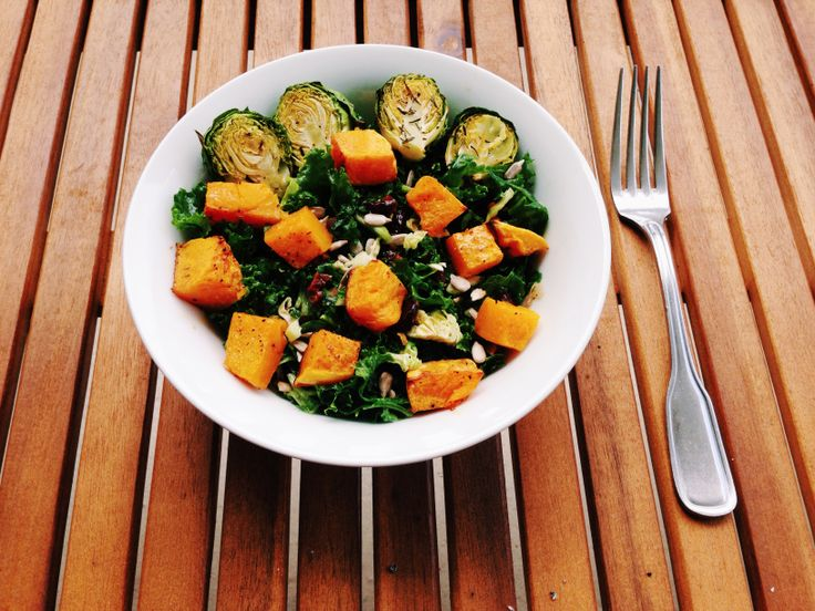 Fall Salad: Roasted Butternut Squash & Brussels Sprouts Kale Salad ...