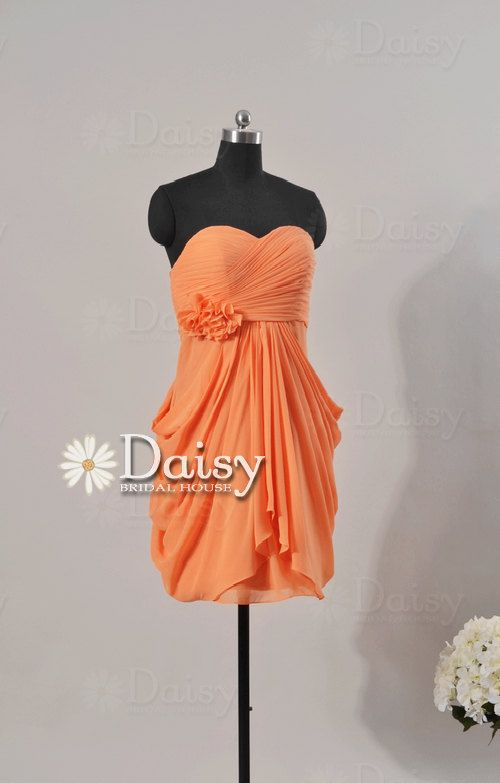 Custom short orange bridesmaid dress orange women dresses for Pink and orange wedding dresses