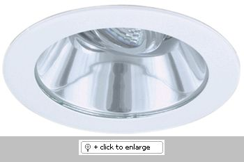 "4"" Adjustable Shower Trim with Clear Reflector and Clear Lens    This Line Voltage downlight is designed to use 50W max 120V GU10 base MR16 lamp.  Dimension: O.D.: 4 3/4""    Bulb: 50W Max. 120V GU10 Base MR16    Finish: White ring, Clear ring, Copper ring, Bronze ring, Nickel ring"