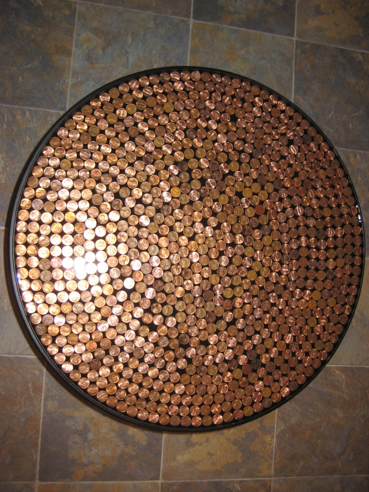 Comfortable furniture penny table for Copper penny bar top