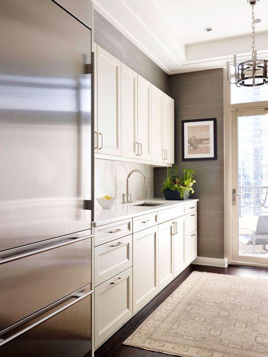 grey, white and stainless steel kitchen  Ritz Carlton Showcase – De Giulio desig