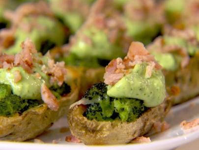 Broccoli and Cheddar-Stuffed Potato Skins with Avocado Cream | Recipe