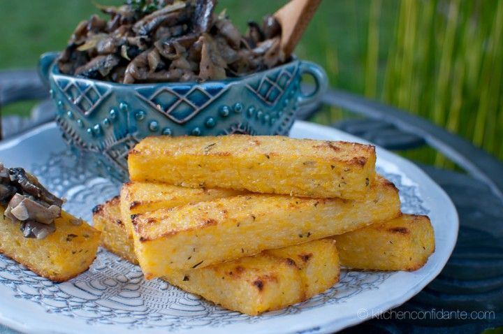 Herbed Polenta Fries with Mushroom & Artichoke Fricassée | Recipe