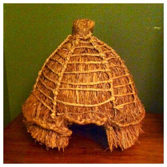 Reserved antique primitive folk art honey bee hive woven wicker baske - Wicker beehive basket ...