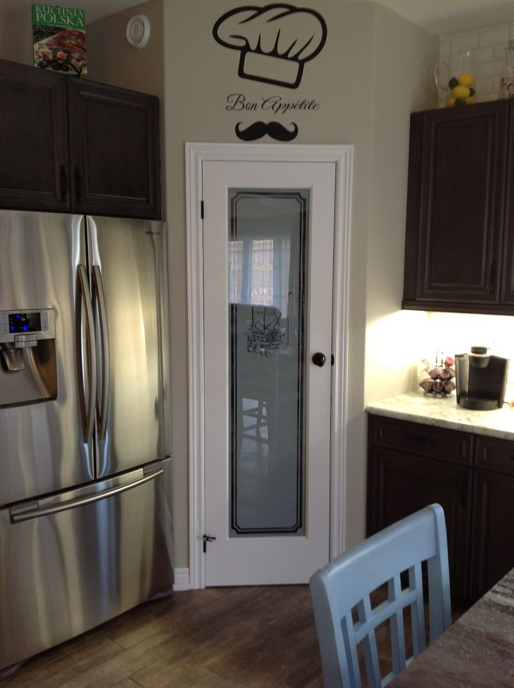 My kitchen will eventually have a frosted glass pantry for Glass pantry door ideas