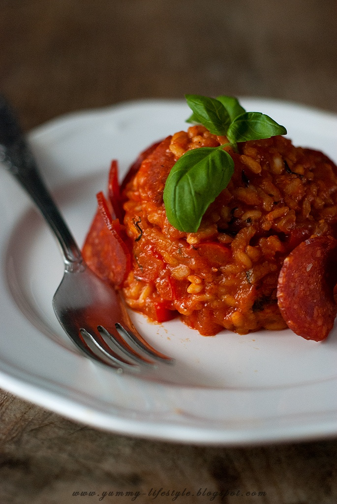 ... Lifestyle - With praise for the food.: Tomato Risotto with chorizo