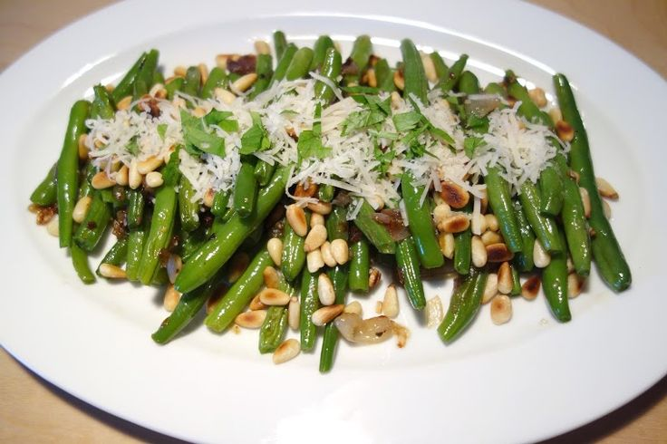 Sauteed green bean with roasted pine nuts and grated parmesan cheese ...