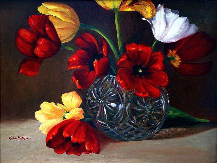 Karen Mattson  — Tulips In Crystal (900×677)