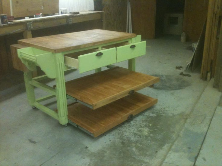 cool are these slide out shelves? Kitchen Island $795 00, via Etsy