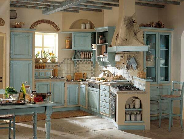 Blue country kitchen  Decor ideas  Pinterest