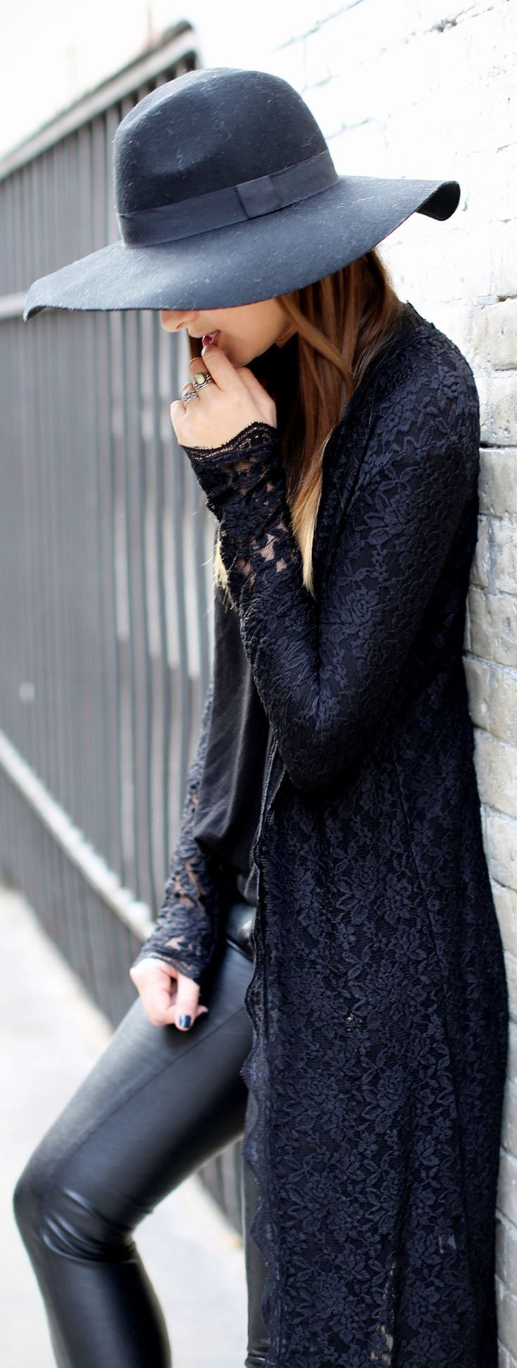 Leather pants lace coat with black hat