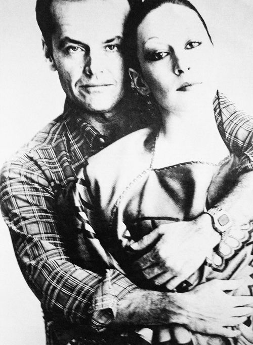 Nicholson / Huston. Embracing. In 1974. Through the lens of Andy Warhol.